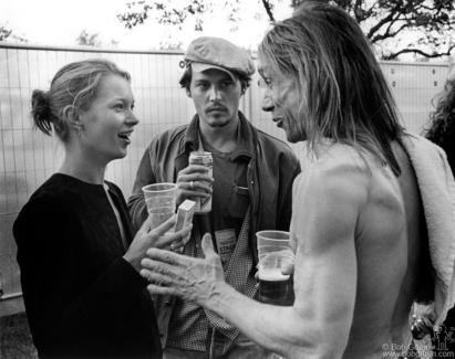 Kate Moss, Johnny Depp and Iggy Pop, London - 1996