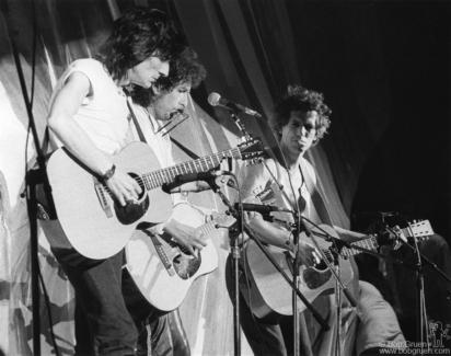 Ron Wood, Bob Dylan and Keith Richards, PA - 1985