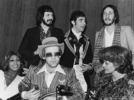 John Entwistle, Keith Moon, Pete Townshend, Tina Turner, Elton John and Ann-Margret, NYC - 1975
